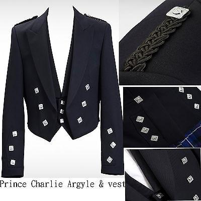 Il Principe Charlie Misto Lana Giacca E Gilet Gilet Scozzese Giacca Principe Charlie-mostra Il Titolo Originale Ottima Qualità