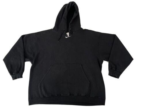 Vintage 90s Nike Center Swoosh Black Hoodie White
