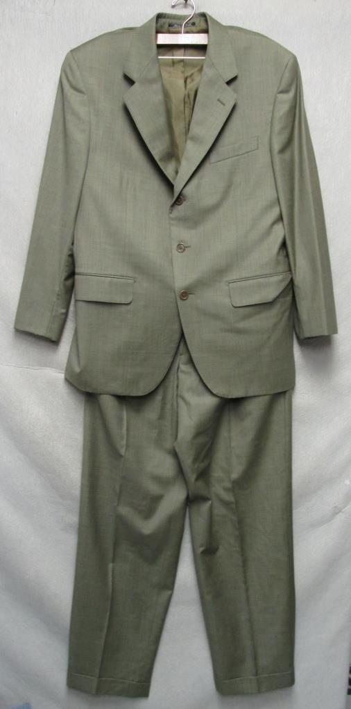 V4999 Faconnable Grün Wool  Made Button Up Blazer/Pants Suit Men L