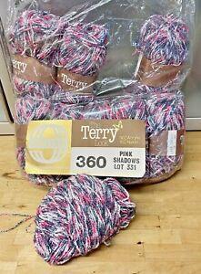 Knitting-Yarn-Wool-450g-Sirdar-Cotton-Terry-Pink-Shadows-DK-Crochet-Vintage-6G