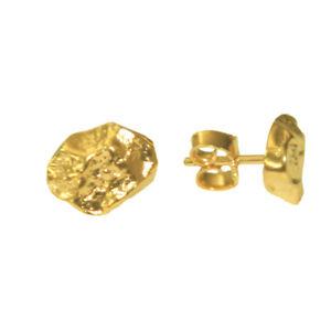 Silber-Ohrstecker-034-Nugget-034-Sterling-Silber-925-vergoldet-zeitlose-Ohrringe