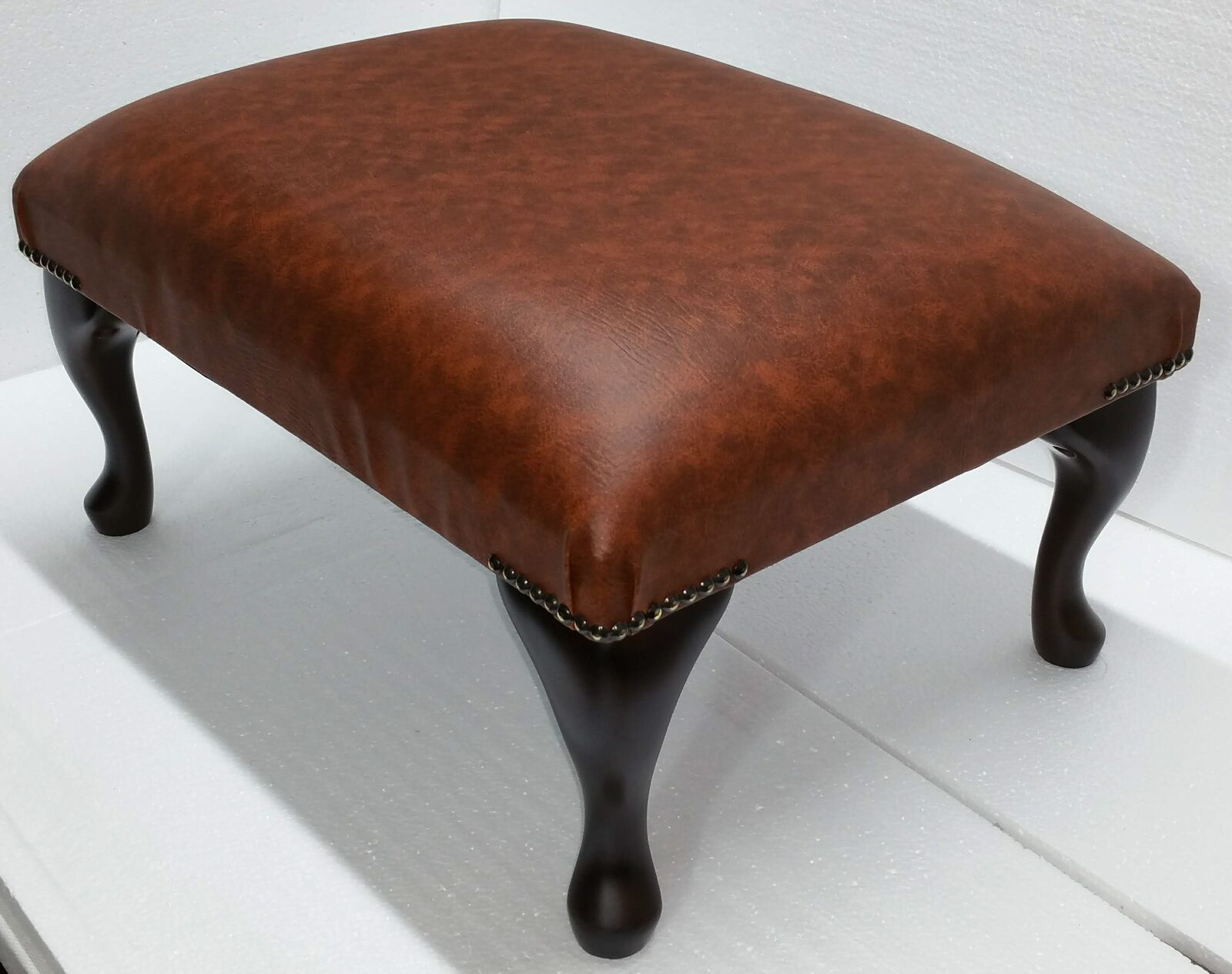 Chesterfield Deep Cushioned Queen Anne Footstool Tan Faux Leather