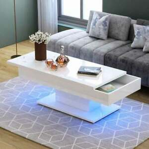 Details About Modern White High Gloss Coffee Tea Table W White Pushable Top To Storage Led