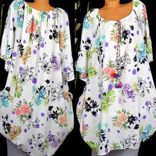 Women Floral Short Sleevel Casual Sundress Ladies Holiday Sun Dress Size 8-22