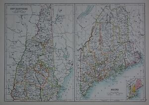 Details about 1897 U.S.STATES LARGE MAP NEW HAMPSHIRE MAINE