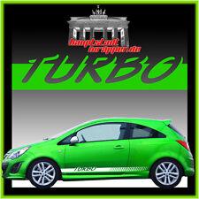 TURBO Seitenaufkleber Seitenstreifen Aufkleber Opel VW Fiat Ford Nissan Honda