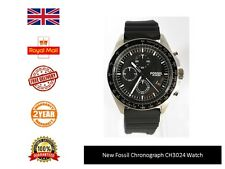 New Genuine Fossil CH3024 Sport Black Silicone Chronograph Watch FAST DISPATCH
