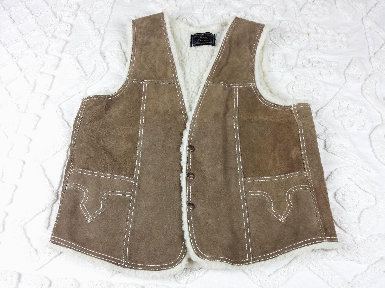 Pau Liz Vest Western Shearling Sherpa Cowboy Tan Suede Leder Snap sz 42 Vtg