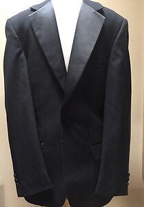 EJ SAMUEL Mens Black Tuxedo Style Blazer Suit Jacket 38 R Elegant One Button