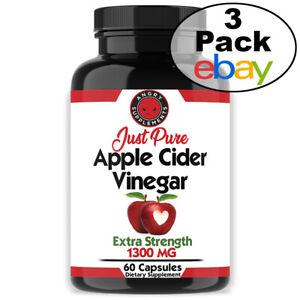 Details About Fast Fat Burner Just Pure Apple Cider Vinegar Acv Pills Natural Weight Loss 3pk