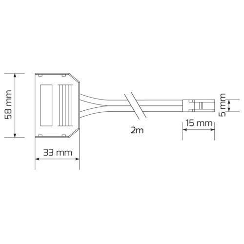 12 V Mini-AMP Connecteur Câble De Connexion Adaptateur-Blanc 2 m Câble 6 positions de distribution