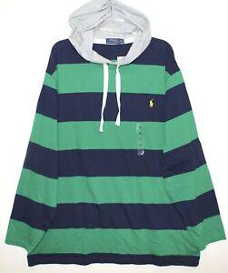 Polo-Ralph-Lauren-Big-amp-Tall-Mens-Green-Blue-Striped-Hoodie-L-S-T-Shirt-NWT-LT