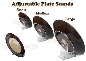 Adjustable Slide Sliding Clear Plastic Plate Disk Dish Bowl Stand ...
