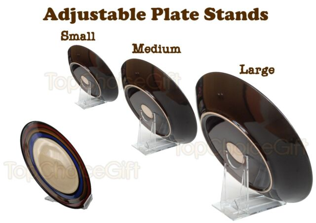 Adjustable Sliding Plastic Plate Disk Display Dish Bowl Stand Holder Mount