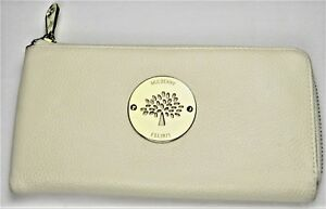 61bafaa1a3 Image is loading Mulberry-Womens-Purse-Wallet-Beige-Pebbled-Leather-Zipper-