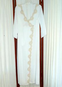 Women-039-s-VINTAGE-1950s-Robe-FLAIR-Wrap-Nylon-Chantilly-Lace-Chalk-White-36-M