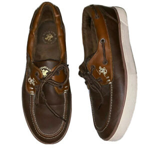 Beverly Hills Polo Club Mens Boat Shoes Leather Big Pony Boat Slip On Loafers 12