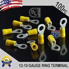 """1//4/"""" Stud Qty-75 T /& B TV10-14R-XV 12-10 Insulated Vinyl Ring Terminal Yellow"""