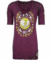 Affliction American Customs Dark Hearts ¾ Sleeve T Shirt $58 M Aw4993 Plum