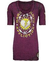 Affliction American Customs Dark Hearts ¾ Sleeve T Shirt $58 M Aw4993 Plum
