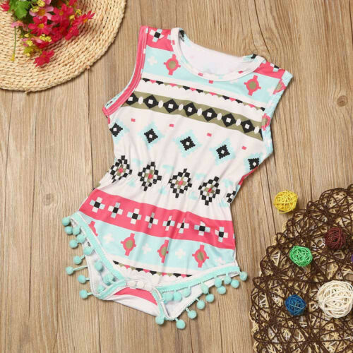 Summer Infant Baby Girl Fruit Print Tassel Romper Jumpsuit Headband Outfits Set#