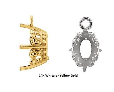 8mm Round 14K Gold Double Loop 4-Prong Intermediate Dangle Setting 4mm