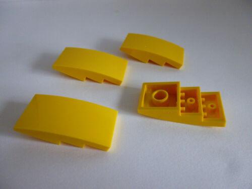 4 x LEGO® 93606 Systemsteine,Dachsteine,Gewölbte Steine in 2X4X2//3 gelb Neuware