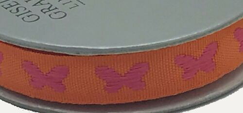 6 Colours Gisela Graham Butterfly Ribbon