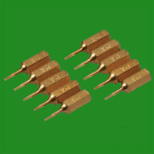 """4x T4 25mm Gold Screwdriver Bits Titanium Coated 1//4/"""" Torx Drive S2 Steel"""
