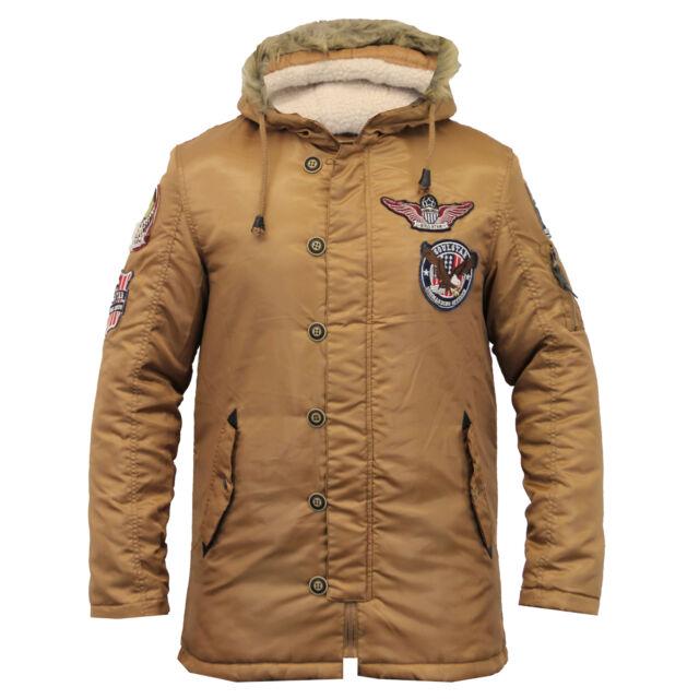 mens fish tail parka jacket Soul Star sherpa hooded fur badge military padded