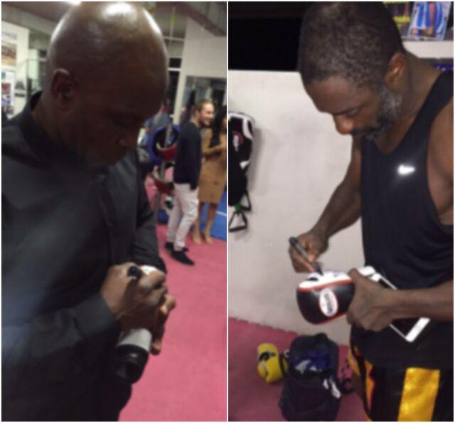 Nigel Benn & Idris Elba Signed Boxing Gloves Post Sparring Sydney Sept 2016