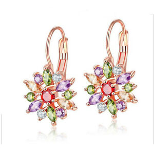 Hot-Flower-Shaped-Rose-Gold-Plated-Stud-Earrings-With-Morganite-Amethyst-Garnet