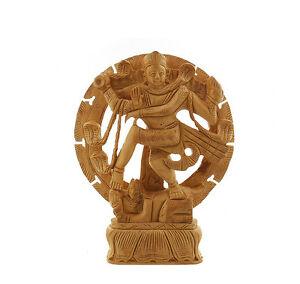 Statua Di Shiva Nataraja Danza IN Legno Intagliato Artigianato India 4733