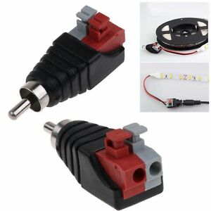 2pcs speaker wire cable to audio male rca connector adapter jack press type plug ebay. Black Bedroom Furniture Sets. Home Design Ideas