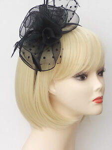 Black Fascinator Alice-band Headband Flower Feather Wedding Ladies ... 80b2aefa468