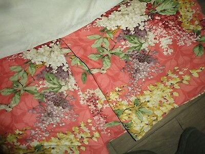 "CROSCILL CORAL HYDRANGEA GOLD MULBERRY AMETHYST FLORAL FULL BEDSKIRT 13"" DROP"