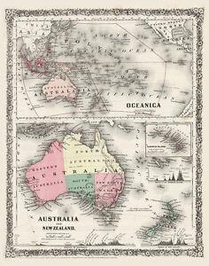 Beautiful Old Map of Australia Oceania 1800s CANVAS PRINT 24X
