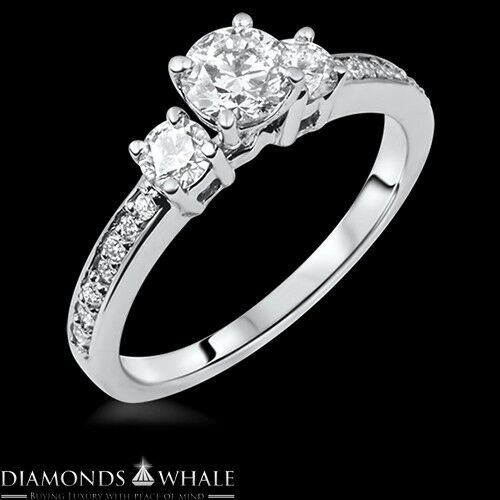 0.77 CT E VS Round Cut Enhanced Diamond Engagement Ring 14k White gold Wedding