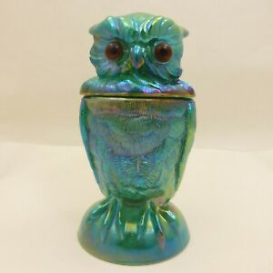 NOS-IMPERIAL-Malachite-Green-IRIDESCENT-CARNIVAL-GLASS-OWL-Candy-Jar-Lidded-Dish