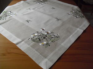 Hellgrau Tischdecke,Tischläufer Stickerei Leinenoptik Mitteldecke