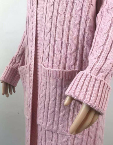 Coat Cardigan Sweater Solid Knitted Outwear Womens Open Front Long Sleeve