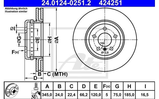ATE Disco de freno x1 345mm ventilado para BMW Serie 3 4 24.0124-0251.2