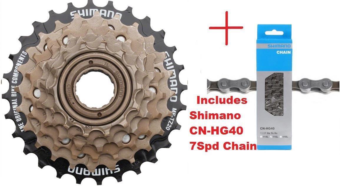 Shimano MF-TZ500 7Spd Multi-Freewheel 14-28t Screw-On Cluster + CN-HG40 Chain