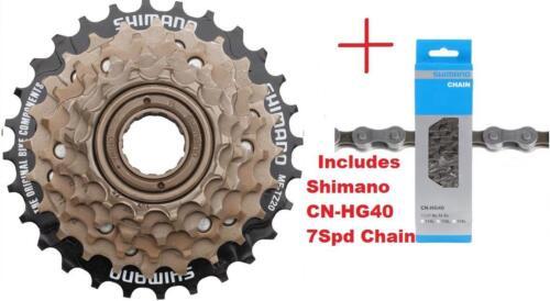 Shimano MF-TZ500 7Spd Multi-Freewheel 14-28t Screw-On Cluster CN-HG40 Chain