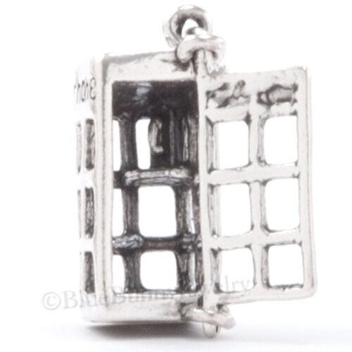 Argent Sterling 925 Téléphone Cabine Téléphonique Charm Londres pendentif porte s/'ouvre 3D