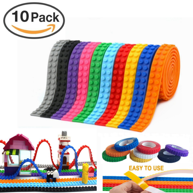 10 Pack Reusable Silicone Block Tape with Self Adhesive Base Plate Lego Tape