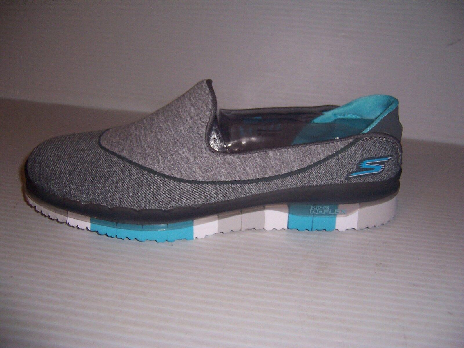 SKECHERS GO FLEX WOMENS CHARCOAL blueE SLIP ON WALKING SHOES VARIOUS SIZES NEW