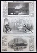 CHINESE JUGGLERS KNIFE THROWING DISPLAY DRURY LANE THEATRE VICTORIAN PRINT 1854