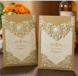 Details About Gold Business Party Wedding Invitation Day Invite Card Laser Cut Personalised