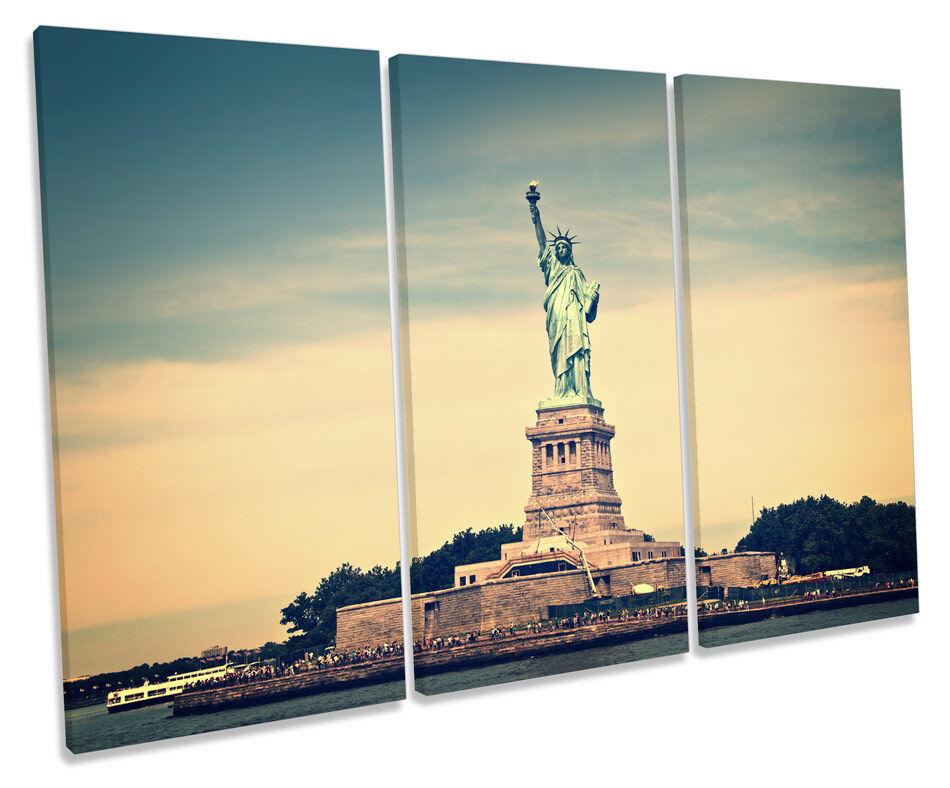 STATUA della Libertà New York City triplicare CANVAS Wall Art Box incorniciato stampa
